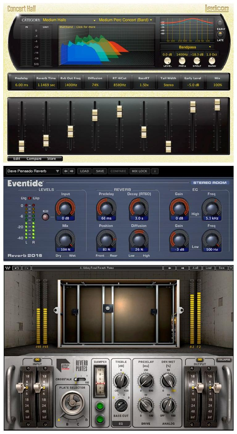 Plug-in emulations of Lexicon and Eventide digital reverb hardware and mechanical plate reverbs