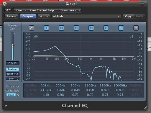 Logic's EQ is used to further extend the low end