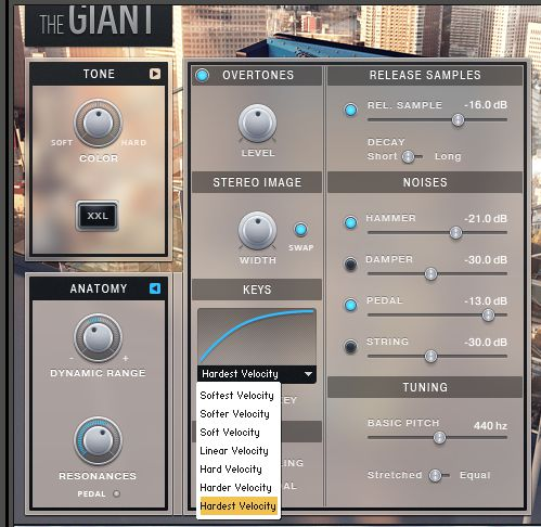 Native Instruments Giant Velocity Settings.
