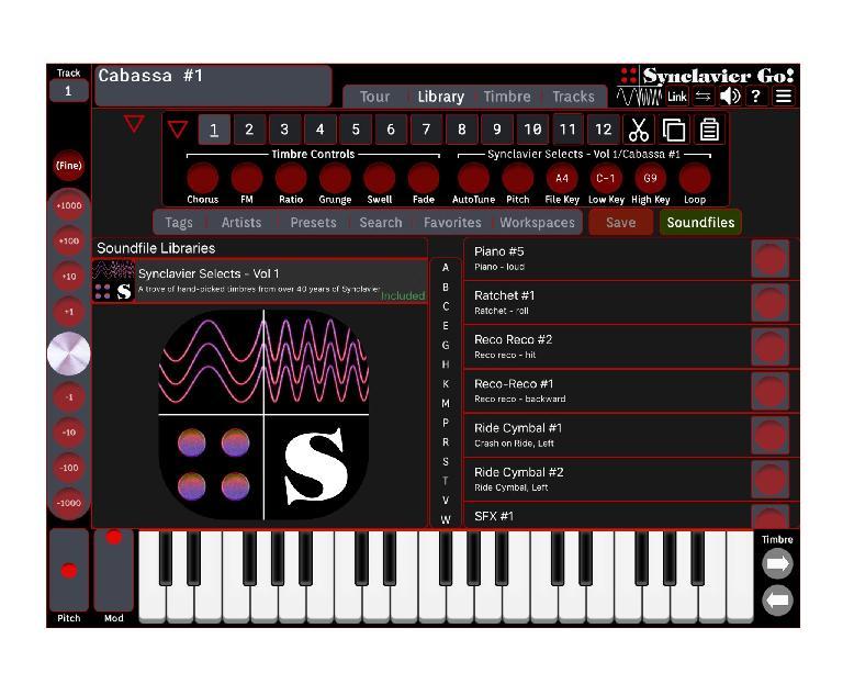 Synclavier Go! iPad app interface