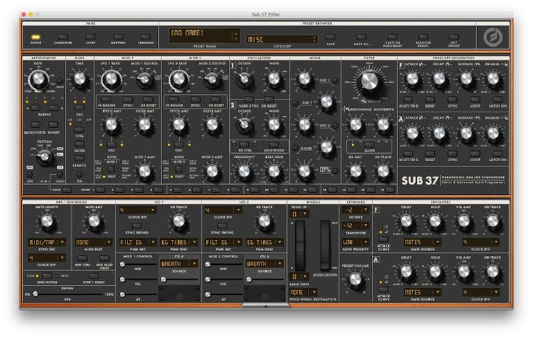 Moog Sub 37 Editor: Main screen
