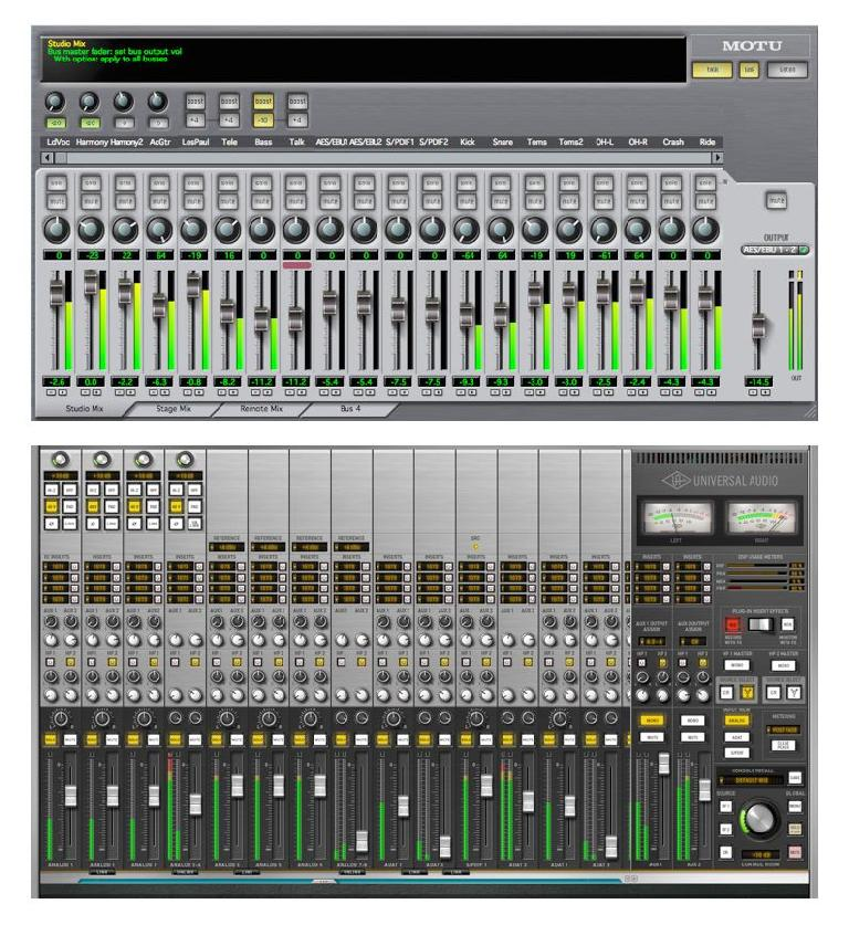 "Fig 3 Typical ""near-zero latency"" virtual mixers in interfaces, which can often provide monitor mixes independently of the DAW's virtual mixer."