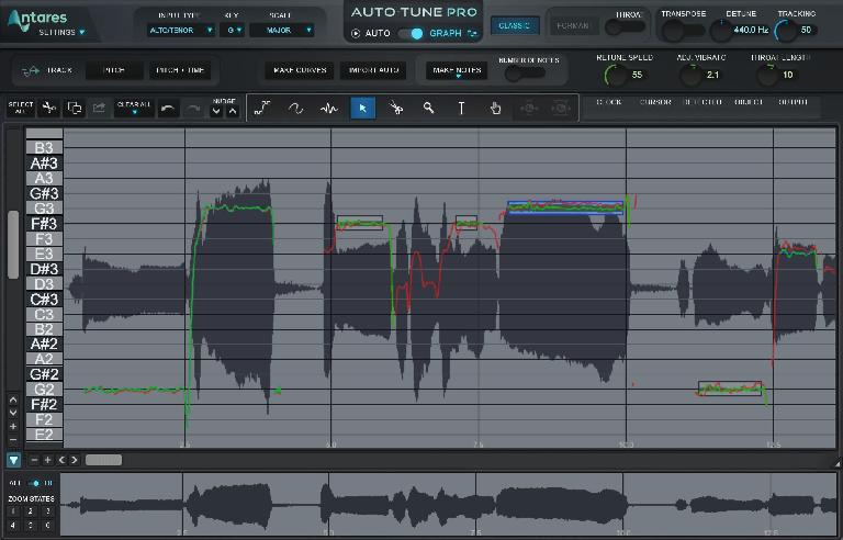 Auto-Tune Pro graphical interface.