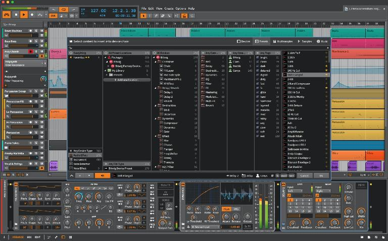 Bitwig 1.2 Pop-Up Browser