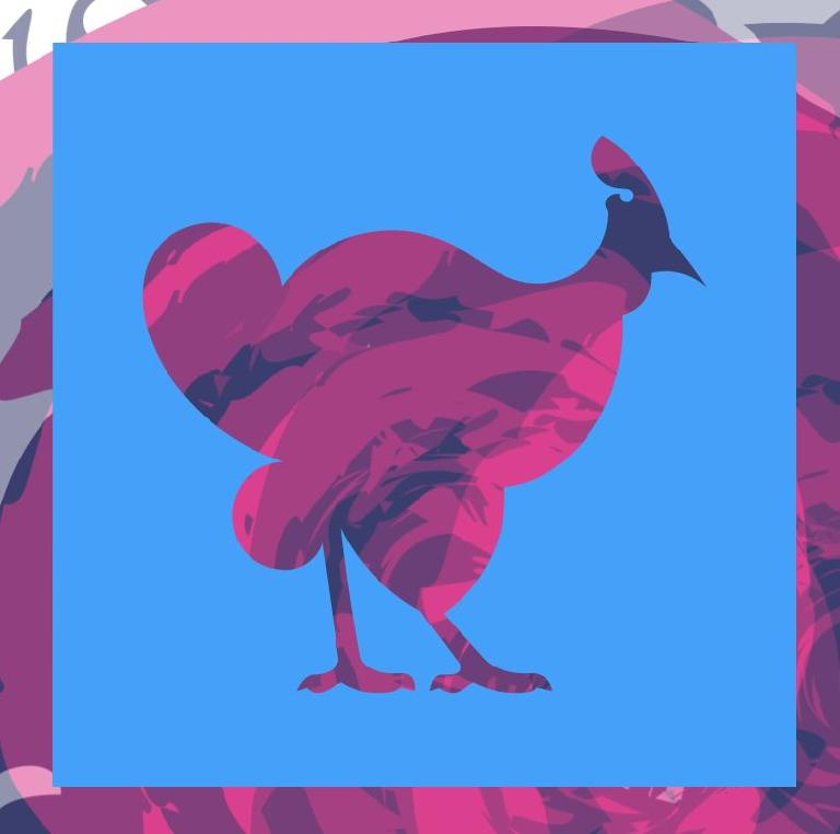 Background element from Illustrator, foreground created by editing a chicken and then punching it out of a square