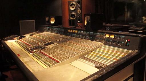 Fig 3: Pink Studios, Belgrade—Soffit mounted Dynaudio Pro M3 with Yamaha NS-10Ms on the bridge of an SSL 6000 E console.