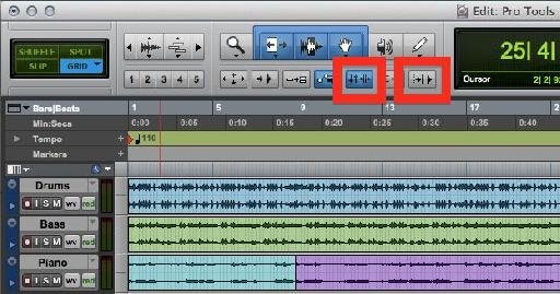 The Buttons that determine Transport and Selection behavior in Pro Tools.