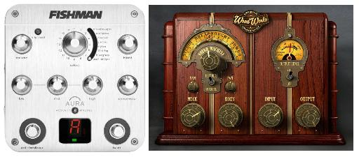 Fig 6 Fishman's Aura and UAD's Wood Works acoustic guitar processors.