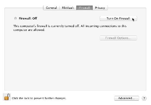 Security & Preferences Firewall