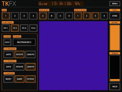 Drag and tap the X/Y grid to control Traktor's effects in realtime.