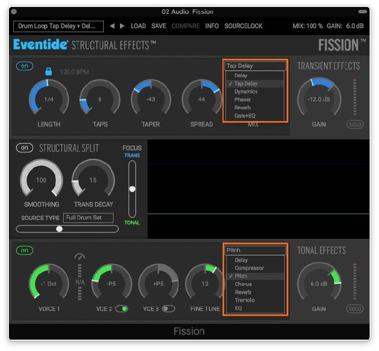 The independent FX available (one each) for the Transient and Tonal audio streams