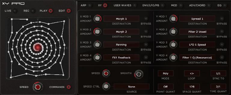 Editing XY settings.
