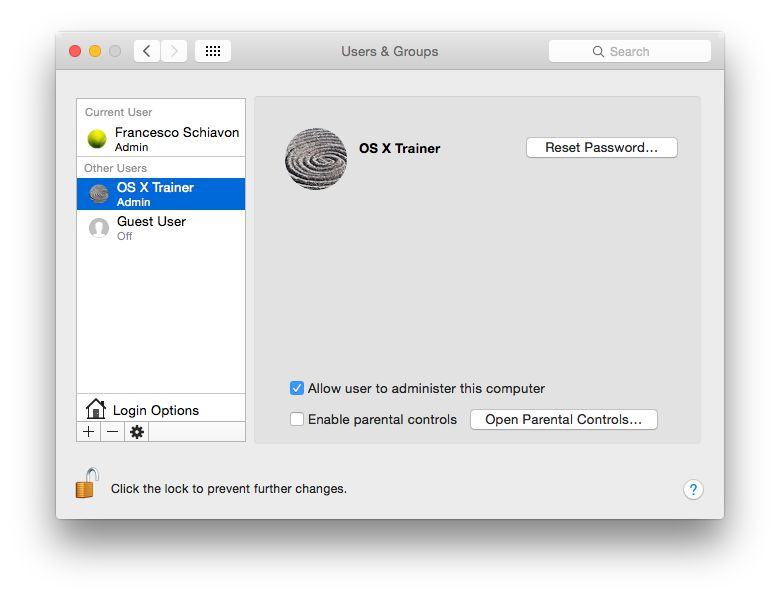 Currently logged in as myself and able to reset the OS X Trainer account's password.
