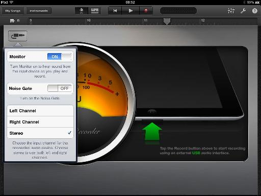 Stereo recording options in GarageBand.