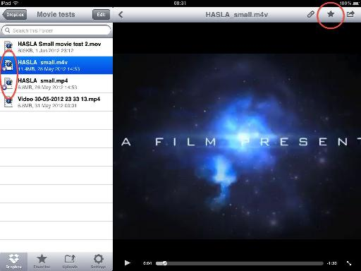 Favorite movie files in Dropbox to download them to local storage; note that .m4v, .mp4 and .mov files are supported.