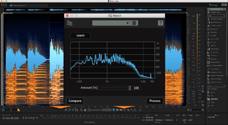 EQ Match generates a curve automatically to match the tone of one piece of audio to that of another