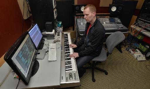 Nic in the studio in session.