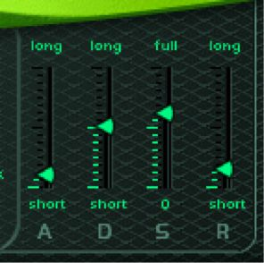 Figure 1: a typical ADSR envelope generator with slide controls