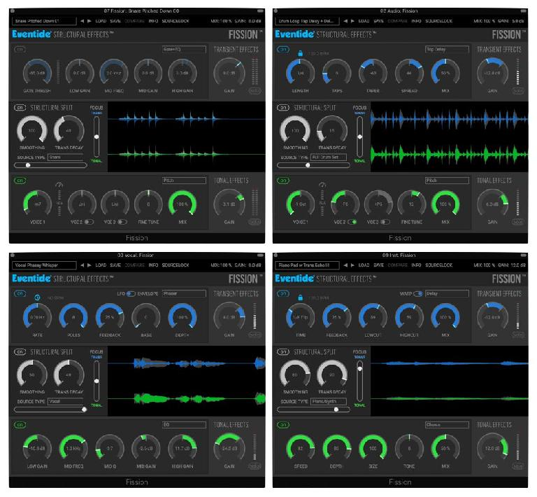The settings for the (4) audio examples (L->R, top->bottom)
