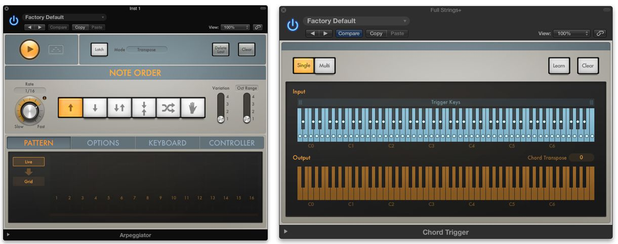 The new Arpeggiator and Chord Trigger plugins
