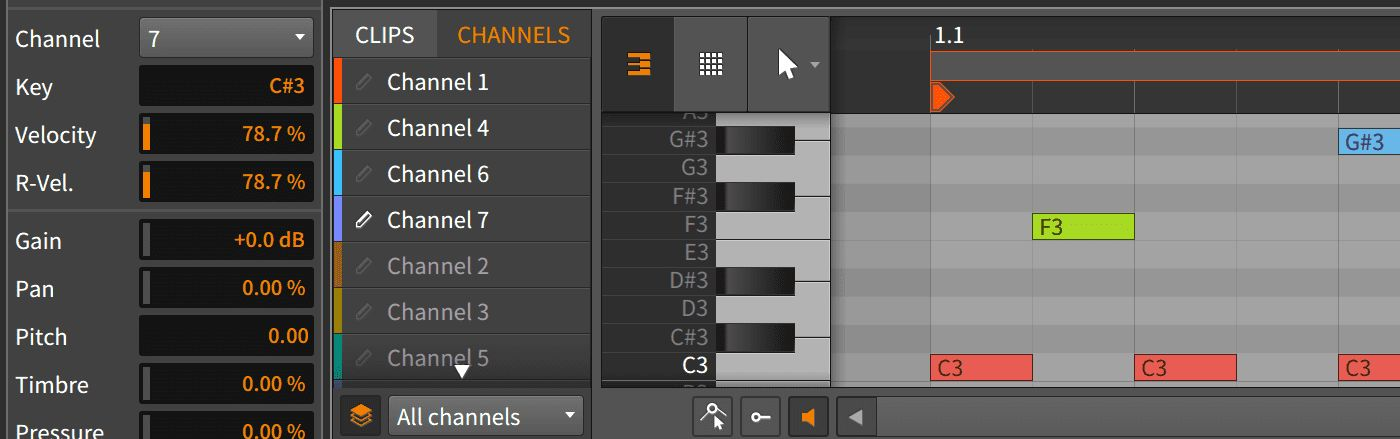 Bitwig Studio 2.4 MIDI channel support