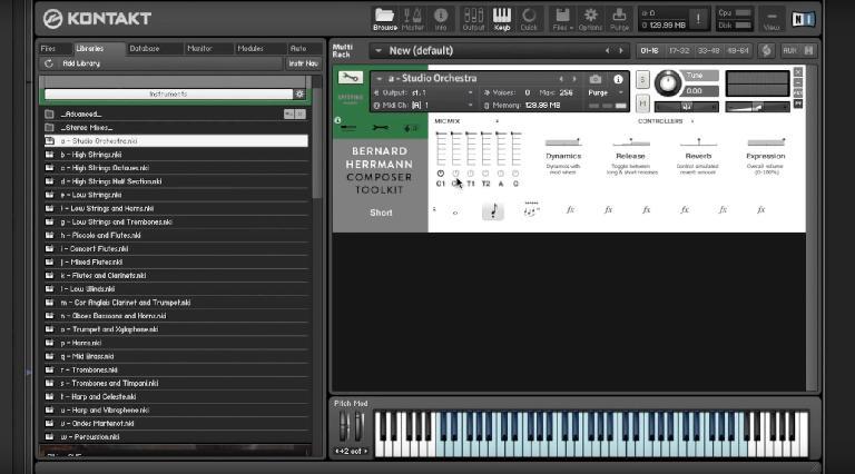 Spitfire audio Bernard Herrmann Composer Toolkit GUI.