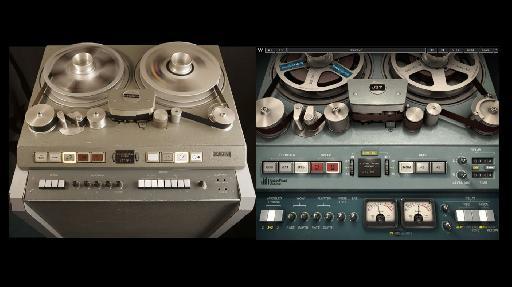 The original Studer J-37 4-track recorder; (R) the J-37 plug-in.