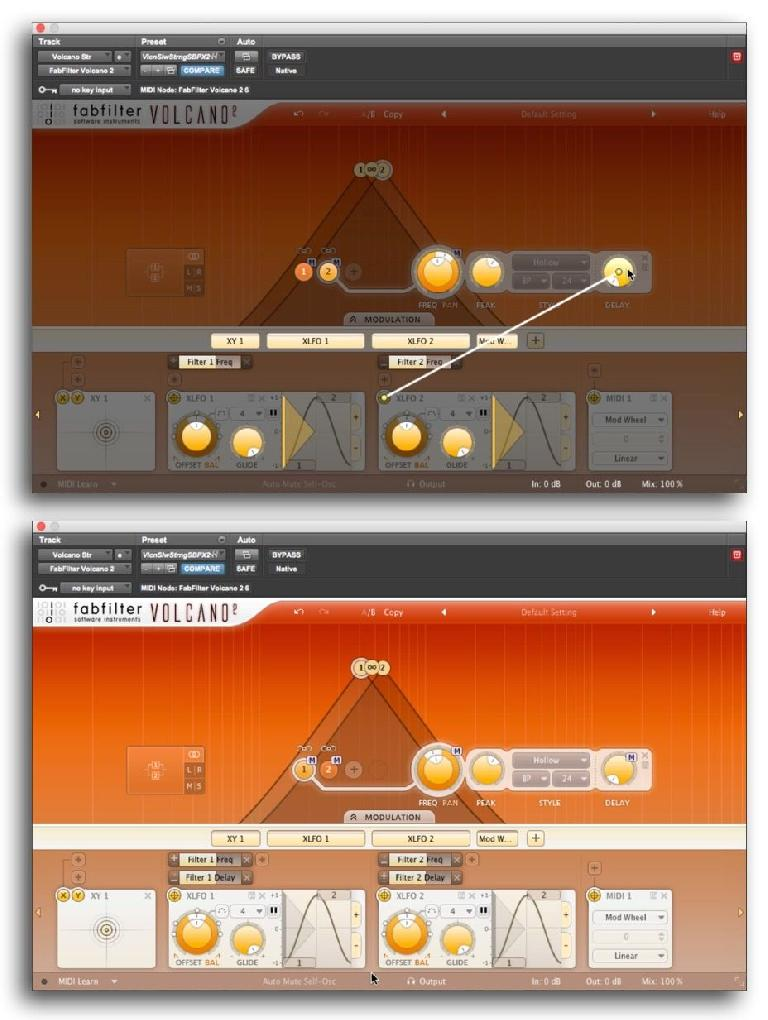 "Fig 5 Modulation (the ""X-LFO"" mod source) in Volcano set up for filter sweeps and other effects."