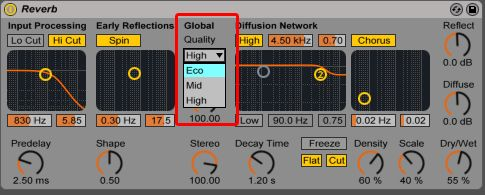 reverb global quality parameter