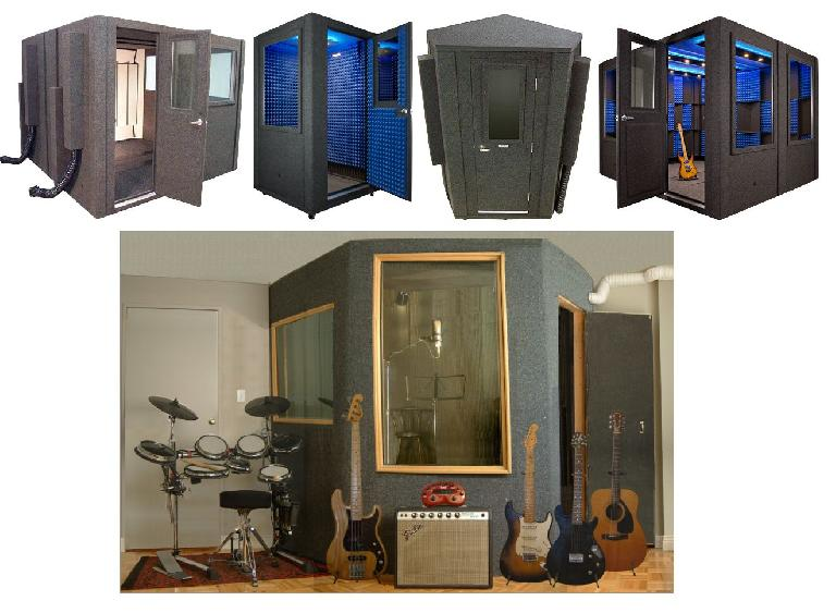 Some commercial iso-booths (top); a home-made vocal booth (bottom)