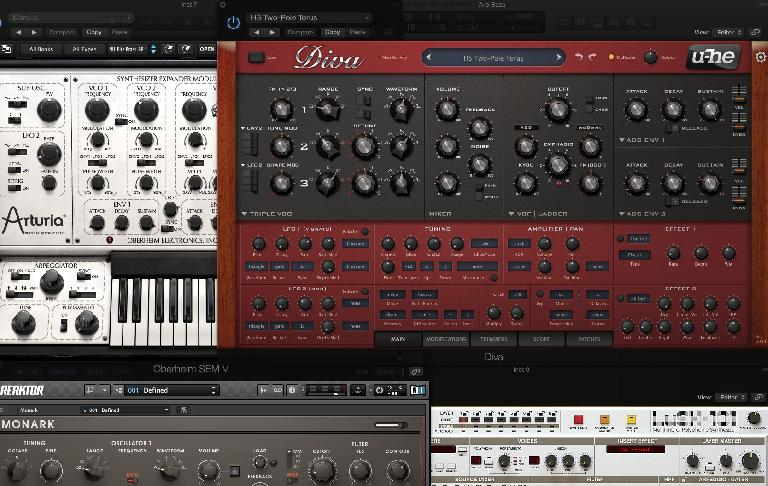 There are lots of virtual synths on the market nowadays. Above: u-he's Diva, Arturia's SEM V, NI's Monark and D16's Lush-101.
