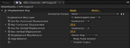 Displacement map effect settings