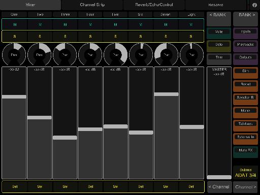 One of RME's TouchOSC templates for iPad - remote control TotalMix FX over WiFi!