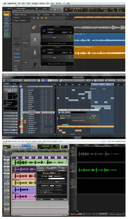 Fig 3 Revoice's Link plug-ins, for transferring audio, in various DAWs.