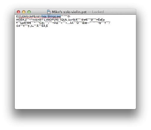The .pst file renamed and opened in TextEdit with the relevant part of the text highlighted