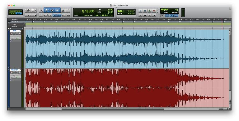 Fig 4 The Loudness Wars in action: a mix whose average level has been cranked up via brickwall limiting.