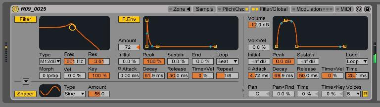 Filter and Volume envelopes both set to loop.