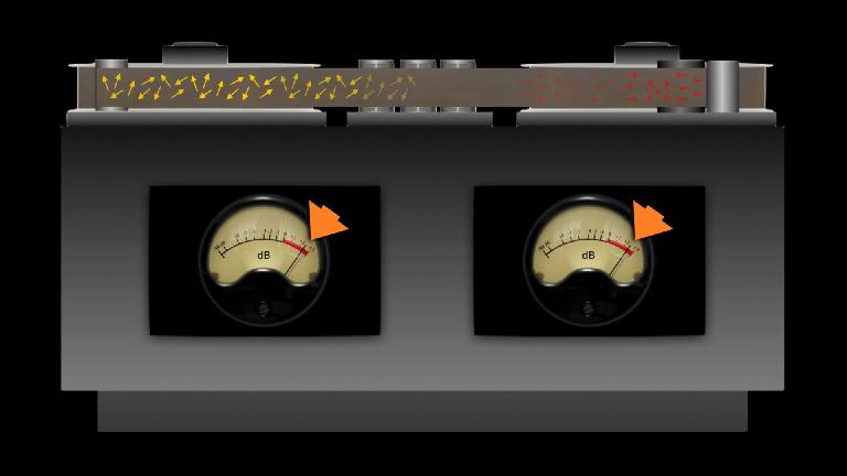 Tape saturation applied lightly to a stereo drum track