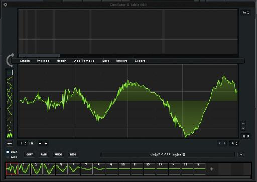 In the Wavetable Editor, a thumbnail view at the bottom shows you how a typical kick sound has been spread across the Wavetable Set.