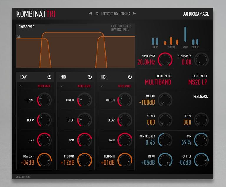 Audio Damage Kombinant GUI