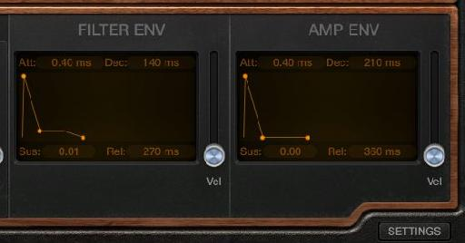 The Filter and Amp settings.