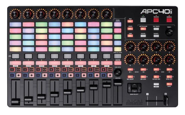 Akai's APC40 mkII in all its backlit glory.
