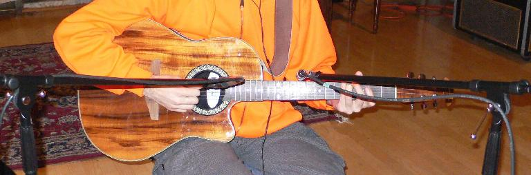 Fig 3 Recording acoustic guitar with two mics, for a better-balanced tone