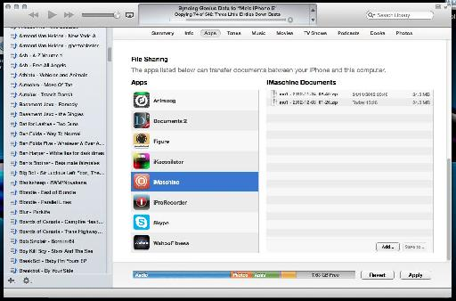 The exported projects in iTunes.