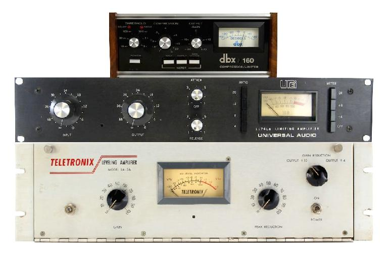 Fig 5 The classic Compressors mentioned above (top to bottom): dbx 160; Urei 1176; Teletronix LA-2A