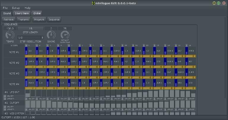 The minilogueEdit Sequencer Editor.