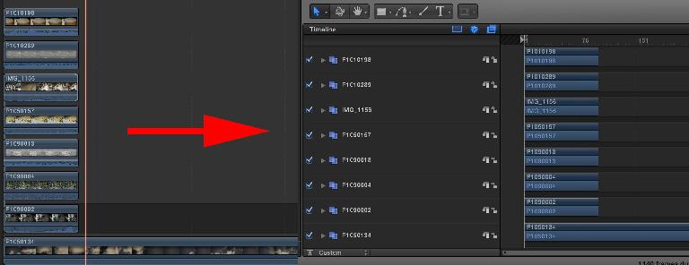 Here are a bunch of clips in FCP X being sent to Motion