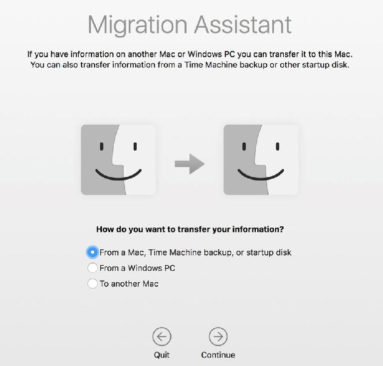 Migration Assistant also works after the installation process