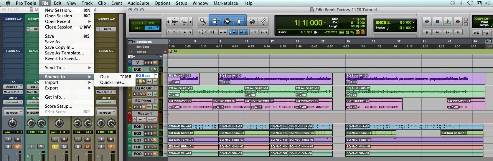 (Fig 4) Pro Tools File Menu
