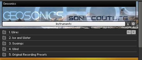 Geosonics Instrument Menu in Kontakt.